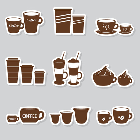 mocca: coffee cups and mugs sizes variations stickers set