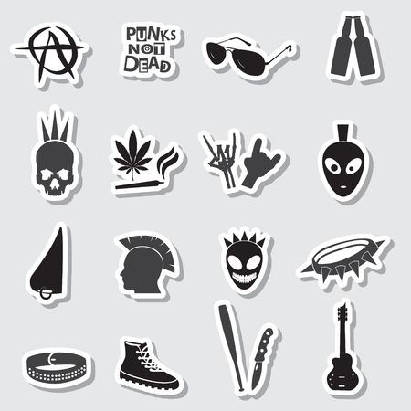 16 various black punk icons set Vector