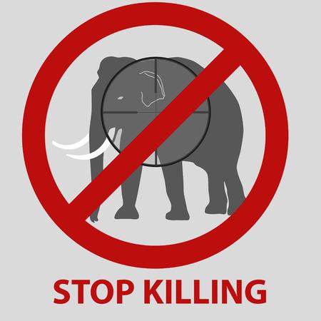 killing: stop killing animals symbol with elephant