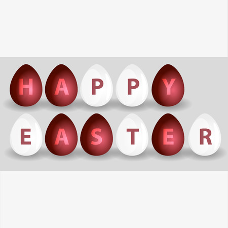 easteregg: happy easter from red and white eggs