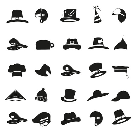 ski wear: various black hats icons vector set eps10