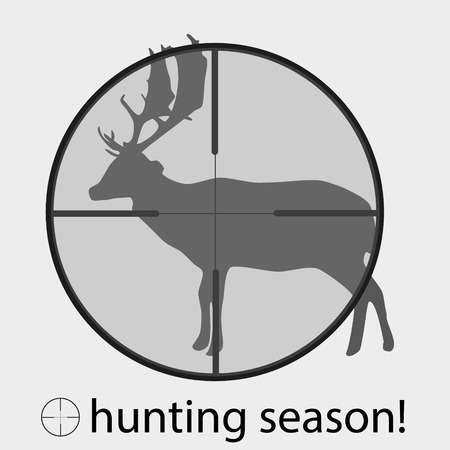 gunsight: hunting season with deer in gunsight eps10 Illustration