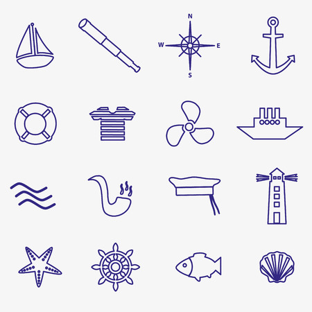nautical blue simple outline icons set Vector