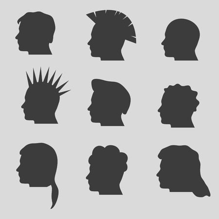 long straight hair: nine types of man hair styles head silhouettes Illustration