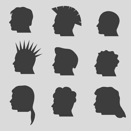 man long hair: nine types of man hair styles head silhouettes Illustration