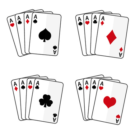 aces: sets of playing cards with four aces