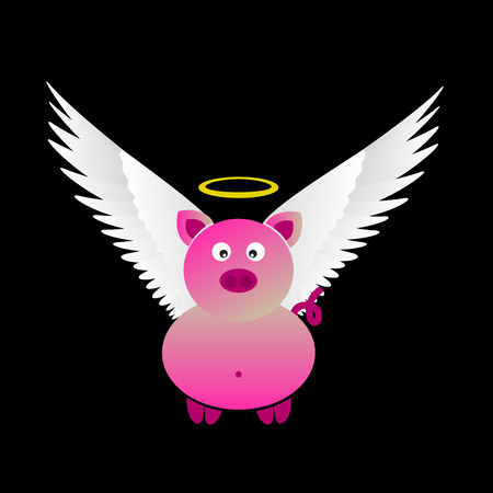 great white: pink saint pig with great white wings Illustration