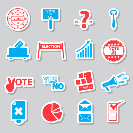 election and vote color simple stickers set Illustration