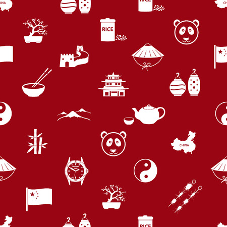 great wall of china: China theme icons white and red seamless pattern eps10
