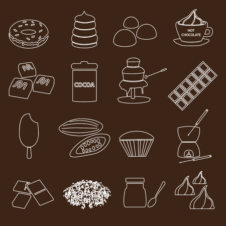 fondue: white and brown chocolate outline simple symbols set eps10