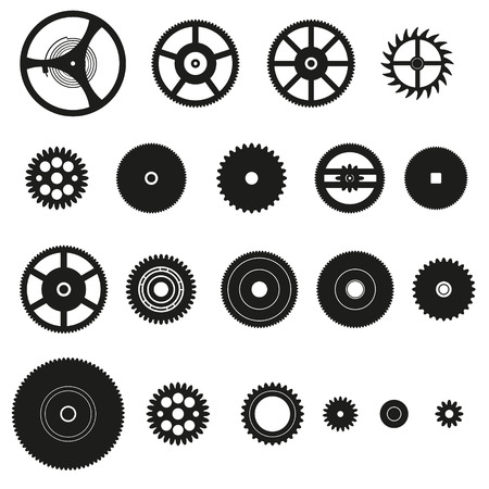 watch movement: various cogwheels parts of watch movement  Illustration