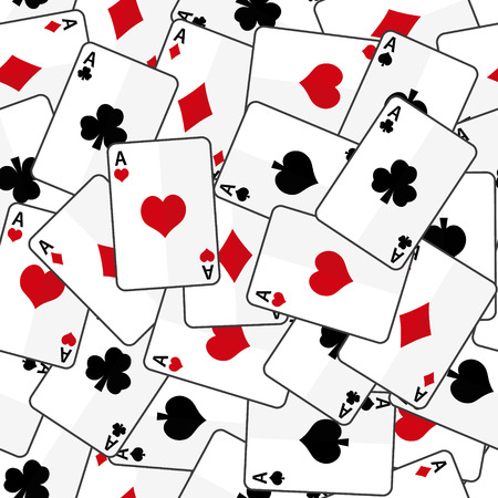 aces: playing cards with four aces seamless pattern eps10 Illustration