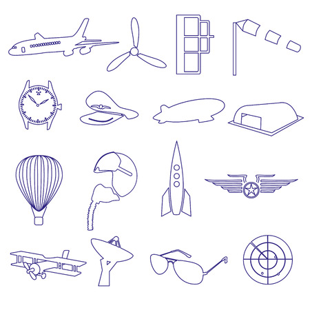 aeronautical: blue aeronautical and aviation outline icons set eps10