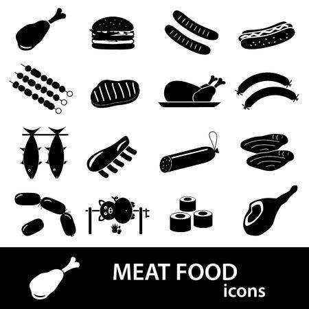 costillas de cerdo: Iconos de los alimentos de carne y s�mbolos establecen eps10