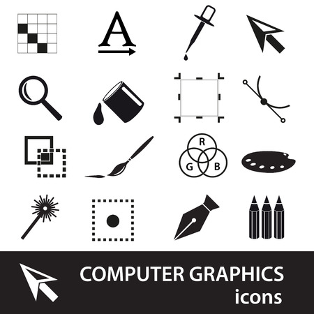 computer graphics: gr�ficos por ordenador s�mbolos negros conjunto de iconos