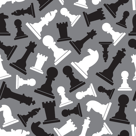inteligent: black and white chess pieces seamless gray pattern