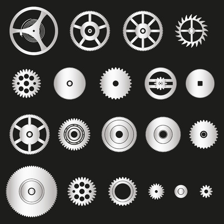 watch movement: various silver metal cogwheels parts of watch movement eps10 Illustration