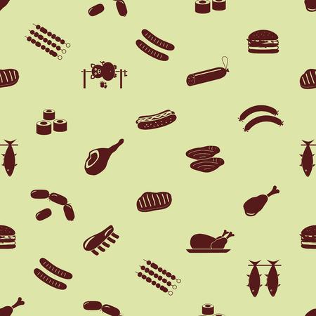 pareja comiendo: Iconos de los alimentos de carne y símbolos patrón eps10 sin fisuras Vectores