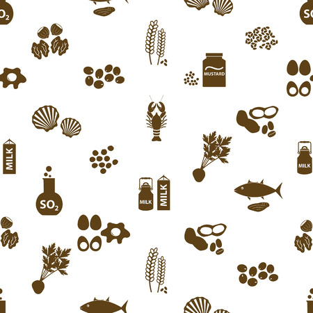 set of typical food alergens for restaurants seamless pattern