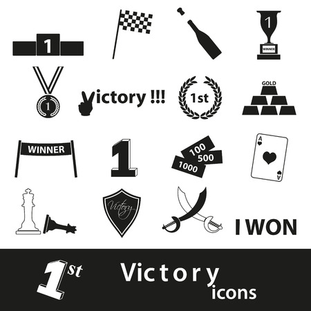 sword and heart: flawless victory symbols set of icons Illustration