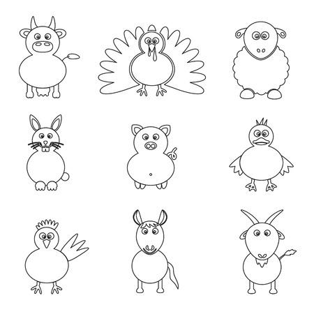 gobbler: farm animals simple outline icons set
