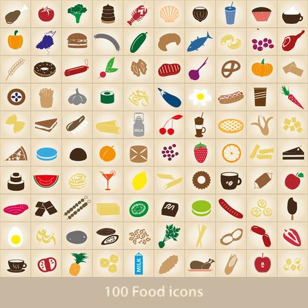 100 다양한 음식과 음료 색상 아이콘을 설정