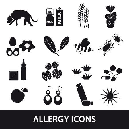 alergenos: alergia y al�rgenos iconos negros fijaron Vectores