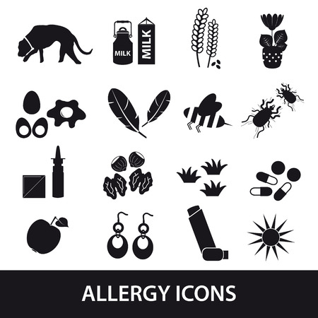 allergens: allergy and allergens black icons set
