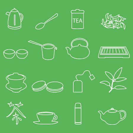 tearoom: white tea outline icons on green background  Illustration