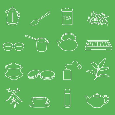 tearoom: white tea outline icons on green background  Illustration