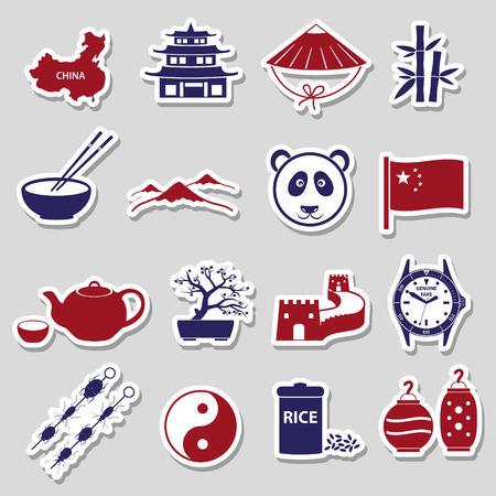 great wall of china: China theme color stickers set  Illustration