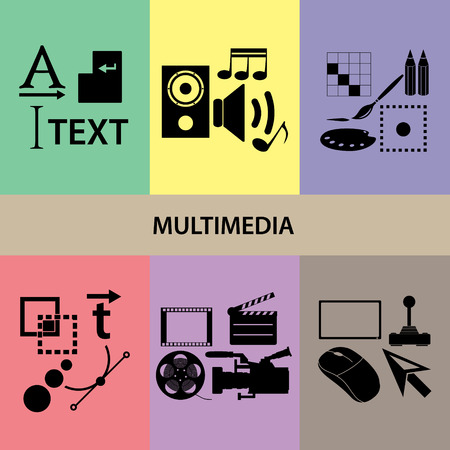 peripherals: various multimedia icons and symbols
