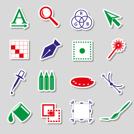 various computer graphics color stickers set  Vector