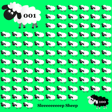 zwart schaap: witte en zwarte schapen tellen op groene achtergrond