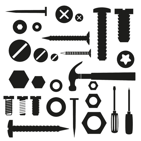 construction nails: hardware screws and nails with tools symbols  Illustration