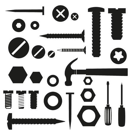 hardware screws and nails with tools symbols 版權商用圖片 - 36154045