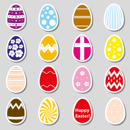 easteregg: various color Easter eggs stickers collection  Illustration