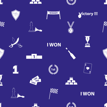 flawless: flawless victory symbols blue and white seamless pattern  Illustration