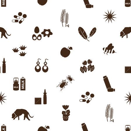 alergenos: alergia y al�rgenos iconos sin fisuras patr�n Vectores