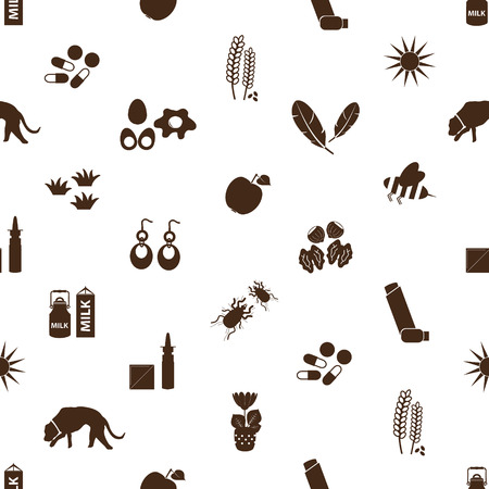 allergens: allergy and allergens icons seamless pattern