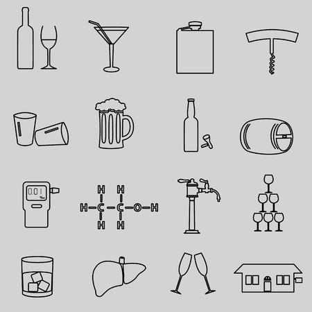 alcohol simple outline black icons set Illustration