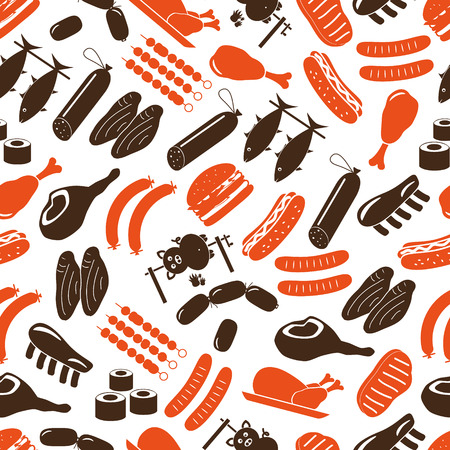 beef meat: meat food icons and symbols color seamless pattern