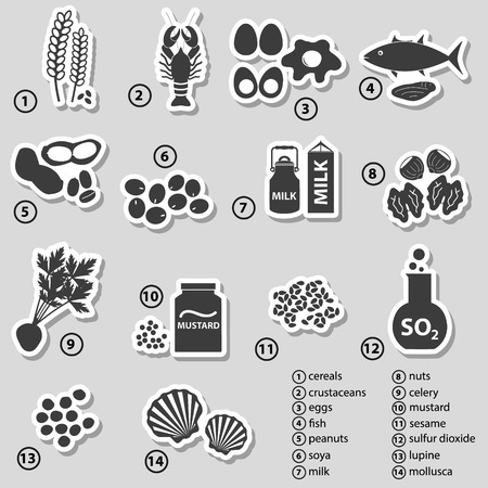 alergenos: conjunto de alérgenos alimentarios típicos para restaurantes pegatinas Vectores