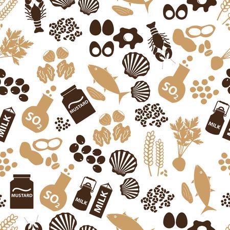 set of food allergens for restaurants seamless pattern   イラスト・ベクター素材