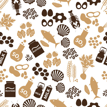 set of food allergens for restaurants seamless pattern  Vectores