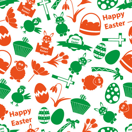 various Easter icons seamless color pattern Vector