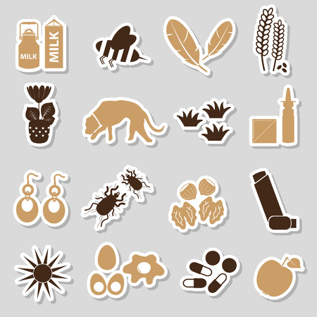 allergens: allergy and allergens color stickers set eps10 Illustration