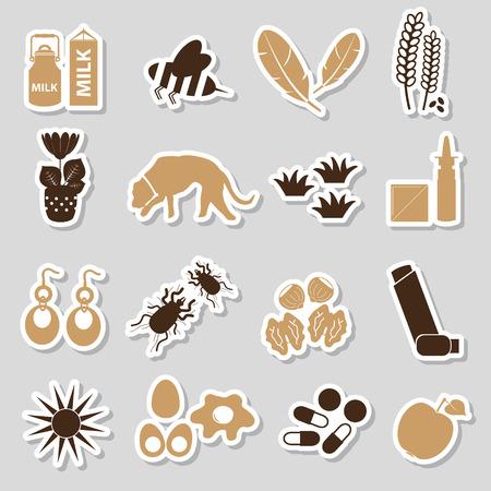alergenos: eps10 alergia y al�rgenos de color pegatinas conjunto
