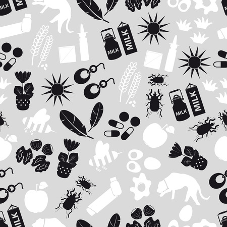 allergens: allergy and allergens gray seamless pattern eps10 Illustration
