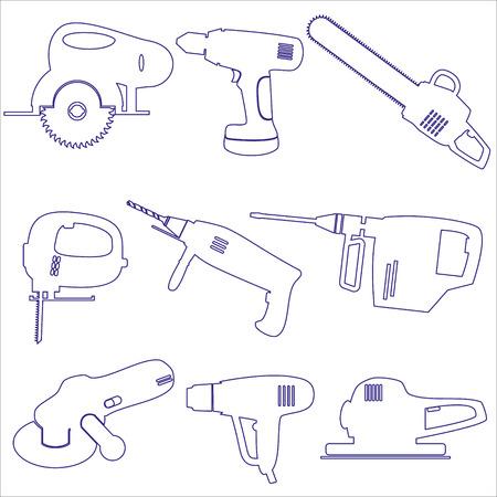 sander: various power tools outline icons set eps10 Illustration